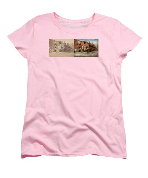 Women's T-Shirt (Standard Cut) featuring the photograph City - Pa - Fish And Provisions 1898 - Side By Side by Mike Savad