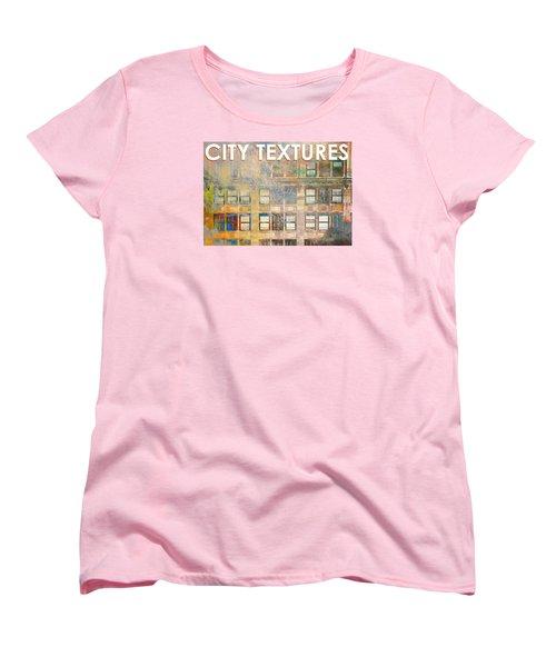 Women's T-Shirt (Standard Cut) featuring the mixed media City Textures Windows by John Fish