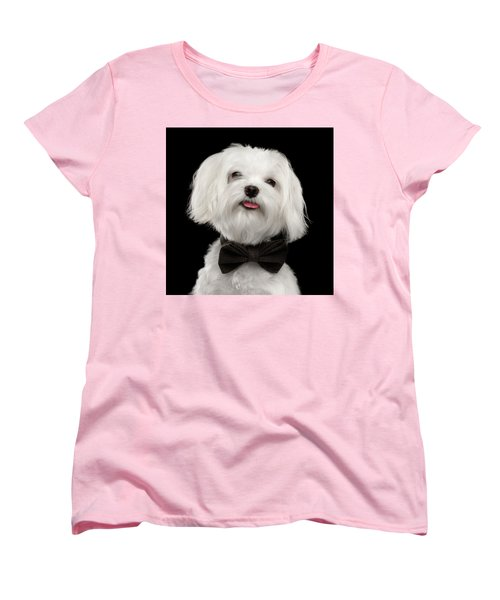 Closeup Portrait Of Happy White Maltese Dog With Bow Looking In Camera Isolated On Black Background Women's T-Shirt (Standard Cut) by Sergey Taran