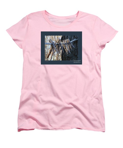 Women's T-Shirt (Standard Cut) featuring the photograph Clothespins by Patricia Overmoyer