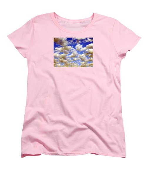 Women's T-Shirt (Standard Cut) featuring the digital art Clouds Blue Sky by Jana Russon