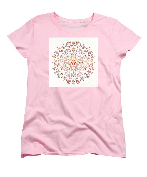 Colorful Mandala On Watercolor Paper Women's T-Shirt (Standard Cut) by Patricia Lintner