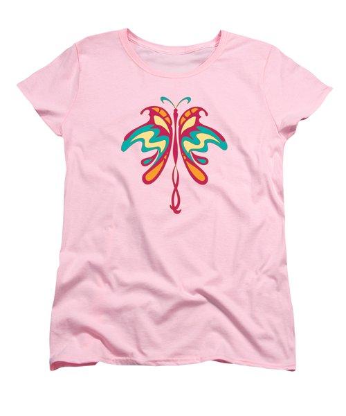 Colourful Art Nouveau Butterfly Women's T-Shirt (Standard Cut) by Heidi De Leeuw