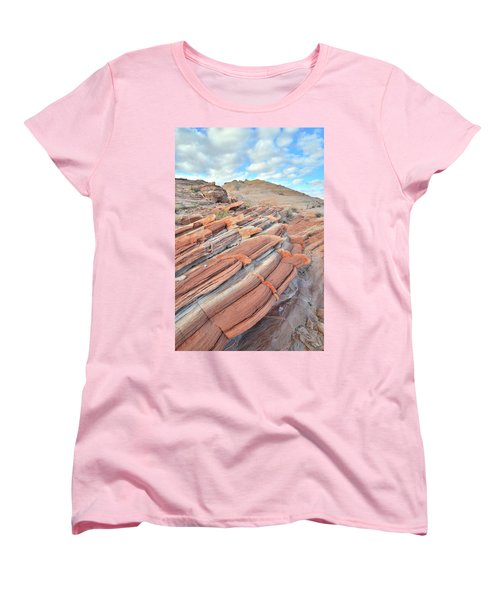 Concentric Circles Of Sandstone At Valley Of Fire Women's T-Shirt (Standard Cut) by Ray Mathis