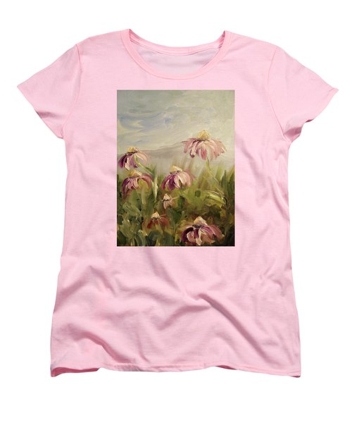 Women's T-Shirt (Standard Cut) featuring the painting Coneflowers by Donna Tuten