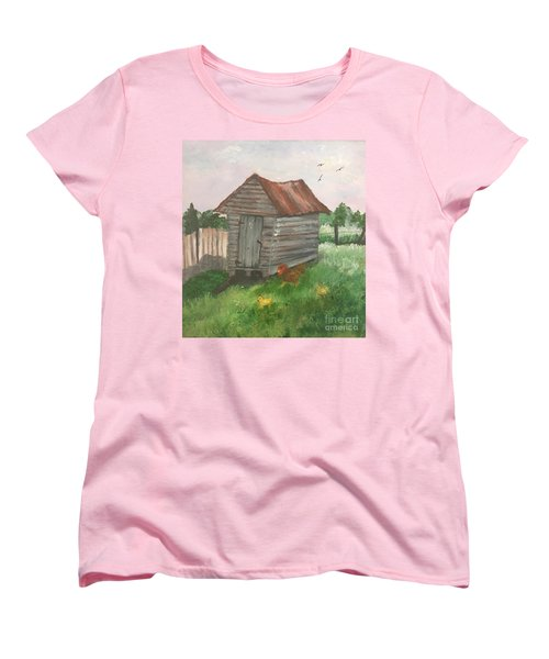 Women's T-Shirt (Standard Cut) featuring the painting Country Corncrib by Lucia Grilletto