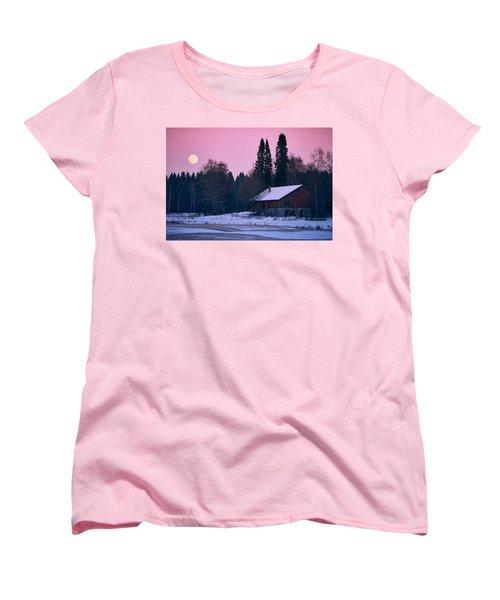 Countryside Full Moon Scenery Women's T-Shirt (Standard Cut) by Teemu Tretjakov