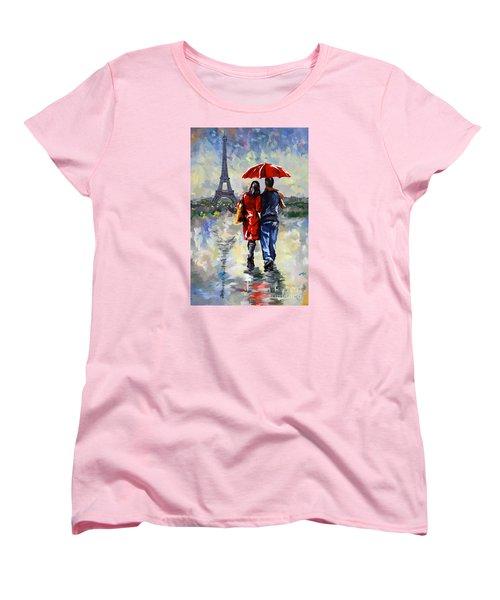 couple walking in the rain Paris Women's T-Shirt (Standard Cut) by Tim Gilliland