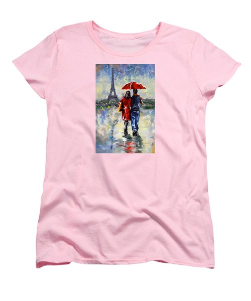 couple walking in the rain Paris Women's T-Shirt (Standard Cut)