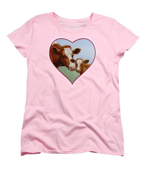 Cow And Calf Pink Heart Women's T-Shirt (Standard Cut) by Crista Forest