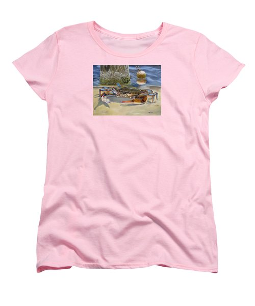 Women's T-Shirt (Standard Cut) featuring the painting Crab On The Shoreline by Phyllis Beiser