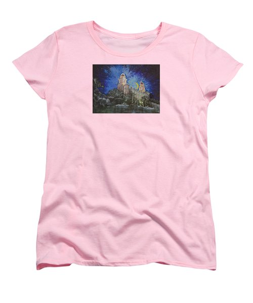 Women's T-Shirt (Standard Cut) featuring the painting Crescent Moon by Jane Autry