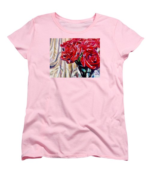 Women's T-Shirt (Standard Cut) featuring the painting Crimson  Petals by Rebecca Glaze