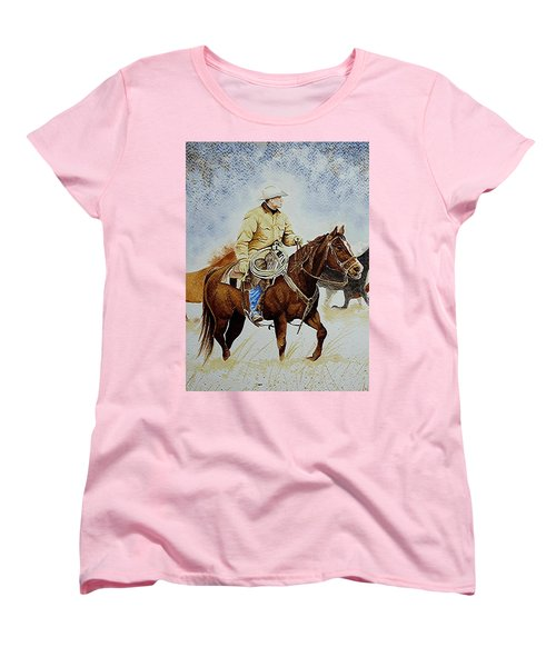 Cropped Ranch Rider Women's T-Shirt (Standard Cut) by Jimmy Smith