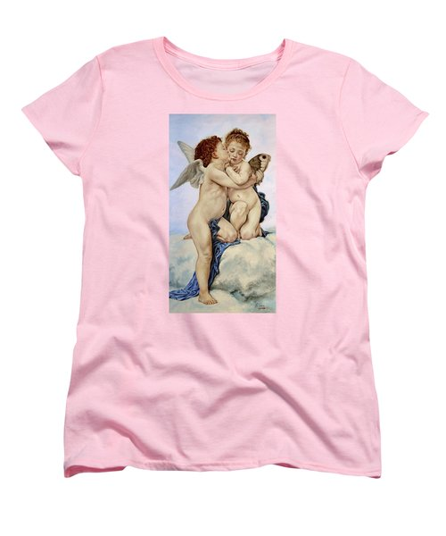 Cupid And Psyche Reproduction William Adolphe Bouguereau  Women's T-Shirt (Standard Cut) by Heidi Kriel