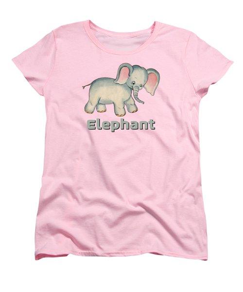 Cute Baby Elephant Pattern Vintage Illustration For Children Women's T-Shirt (Standard Fit)