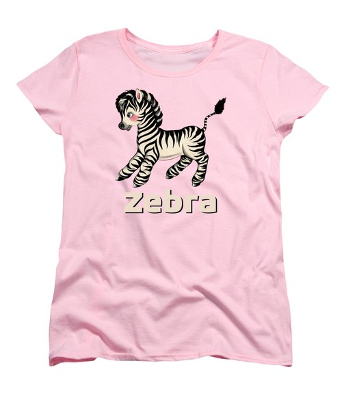 Cute Baby Zebra Pattern Vintage Book Illustration Pattern Women's T-Shirt (Standard Cut) by Tina Lavoie