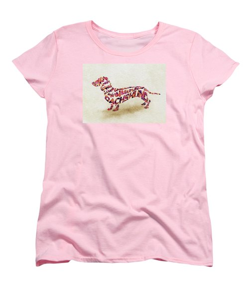 Dachshund / Sausage Dog Watercolor Painting / Typographic Art Women's T-Shirt (Standard Fit)