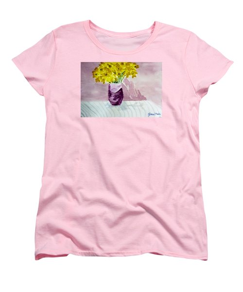 Women's T-Shirt (Standard Cut) featuring the painting Daffs by Jamie Frier