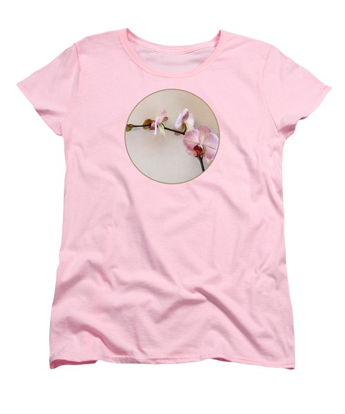 Delicate Pink Phalaenopsis Orchids Women's T-Shirt (Standard Cut) by Susan Savad
