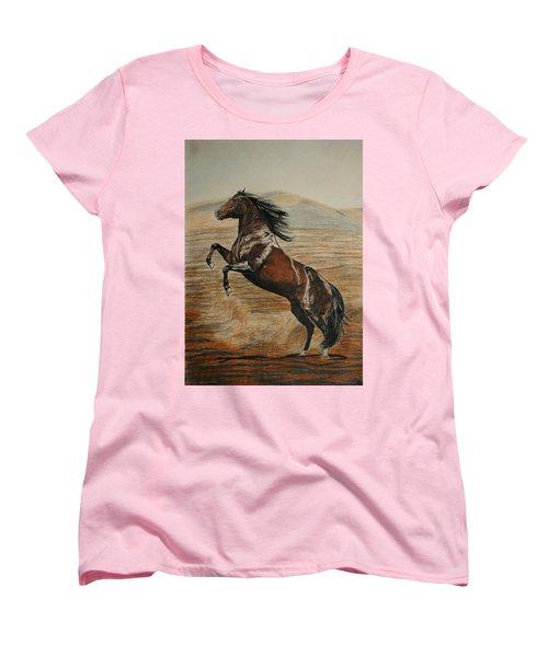 Women's T-Shirt (Standard Cut) featuring the drawing Desert Horse by Melita Safran