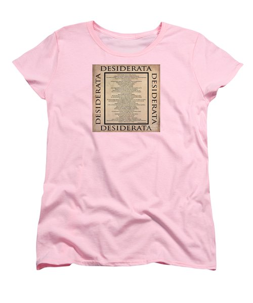 Desiderata - Spanish- Poema Escrito Por Max Ehrmann Women's T-Shirt (Standard Cut) by Claudia Ellis