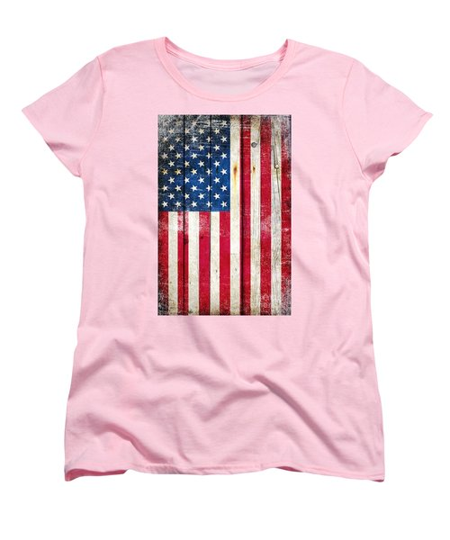 Distressed American Flag On Wood - Vertical Women's T-Shirt (Standard Cut) by M L C