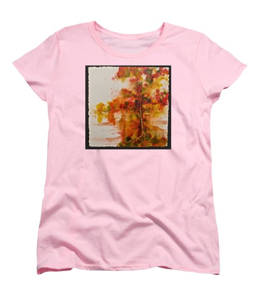 Women's T-Shirt (Standard Cut) featuring the painting Double Reflection by Carolyn Rosenberger