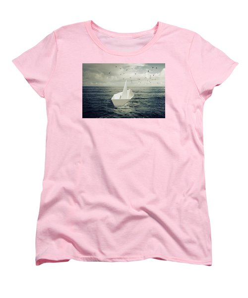 Women's T-Shirt (Standard Cut) featuring the photograph Drifting Paper Boat by Carlos Caetano