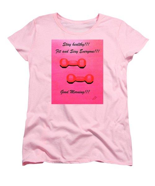 Women's T-Shirt (Standard Cut) featuring the painting Dumb-bells by Lorna Maza