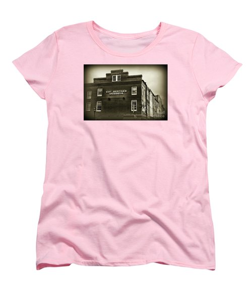 Women's T-Shirt (Standard Cut) featuring the photograph Eat Berthas Mussels In Black And White by Paul Ward