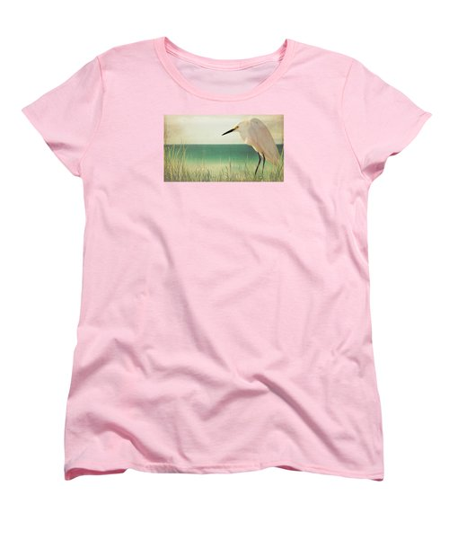Egret In Morning Light Women's T-Shirt (Standard Cut) by Christina Lihani