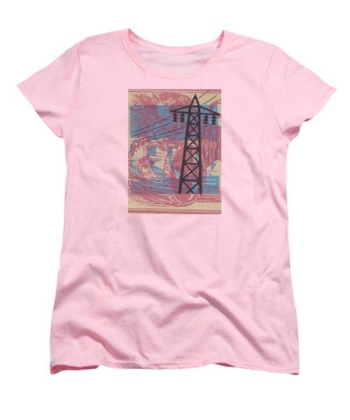 Electric Lion Barrel Women's T-Shirt (Standard Cut) by Nop Briex