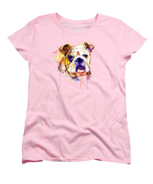 English Bulldog Head Women's T-Shirt (Standard Cut) by Marian Voicu