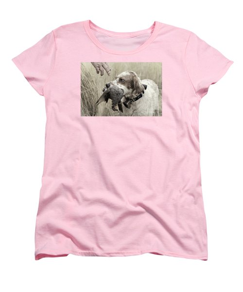 English Setter And Hungarian Partridge - D003092a Women's T-Shirt (Standard Cut) by Daniel Dempster