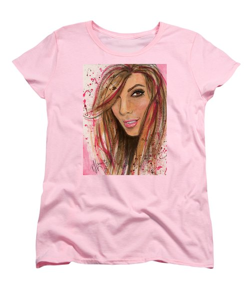Women's T-Shirt (Standard Cut) featuring the painting Eva Longoria by P J Lewis