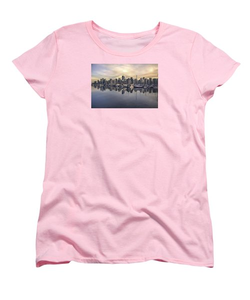 Fading Sun Over Downtown Vancouver Women's T-Shirt (Standard Cut) by Sabine Edrissi