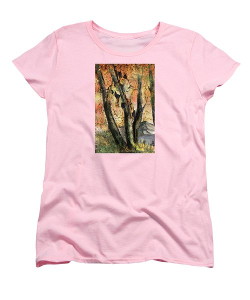 Women's T-Shirt (Standard Cut) featuring the painting Fall Splendor  by Annette Berglund