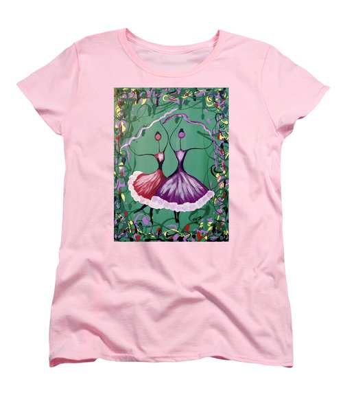 Festive Dancers Women's T-Shirt (Standard Cut) by Teresa Wing