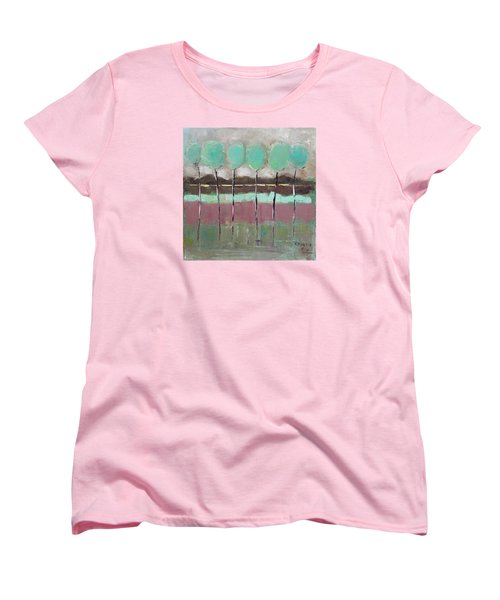 Women's T-Shirt (Standard Cut) featuring the painting Going Out by Becky Kim