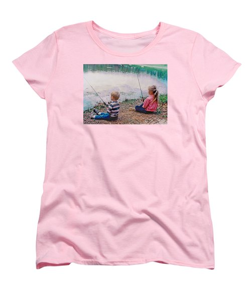 Fishing At Watkins Mill Women's T-Shirt (Standard Cut) by Steve Karol