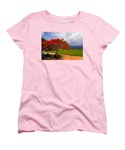 Flamboyant Tree In Grand Cayman Women's T-Shirt (Standard Cut) by Marie Hicks