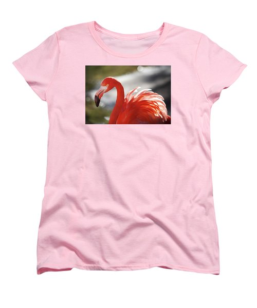Women's T-Shirt (Standard Cut) featuring the photograph Flamingo 2 by Marie Leslie
