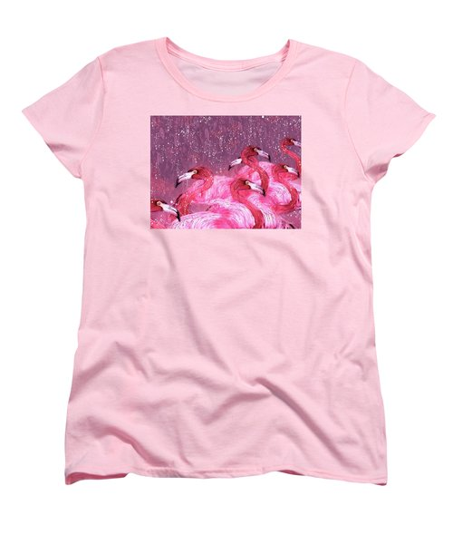 Flamingo Frenzy Women's T-Shirt (Standard Cut) by Barbara Chichester