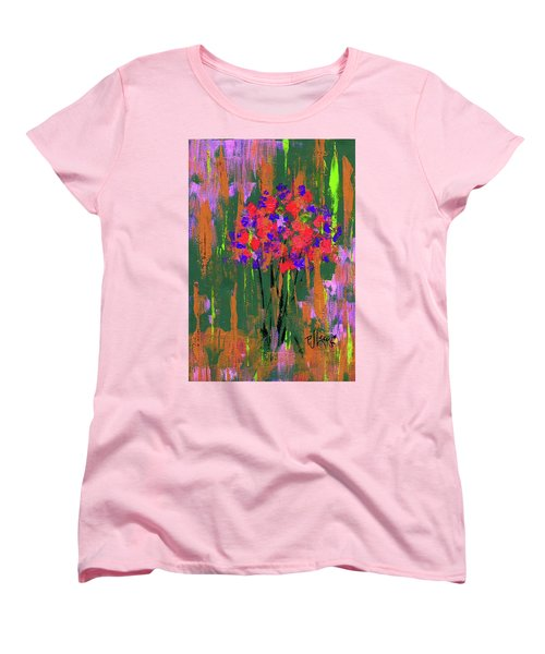 Women's T-Shirt (Standard Cut) featuring the painting Floral Impresions by P J Lewis