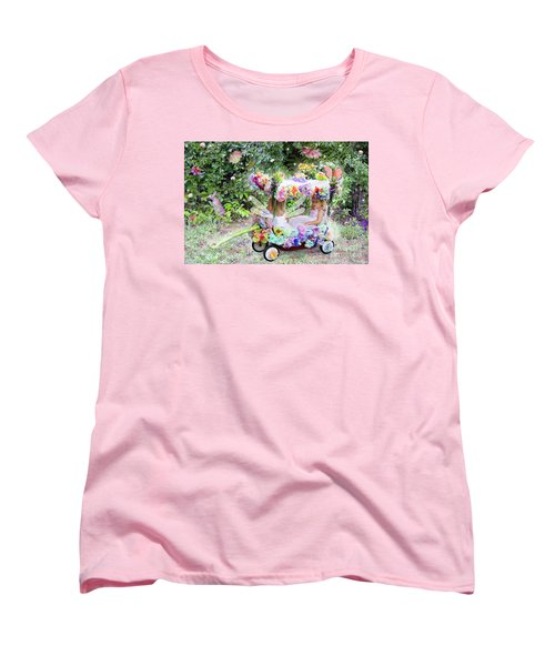 Flower Fairies In A Flower Mobile Women's T-Shirt (Standard Cut) by Lise Winne