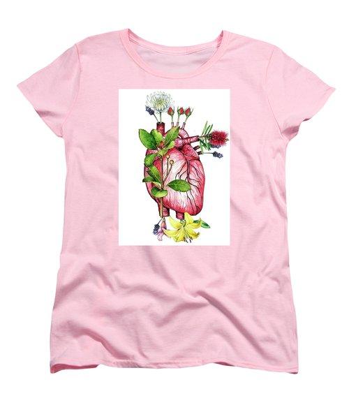 Flower Heart Women's T-Shirt (Standard Cut) by Heidi Kriel