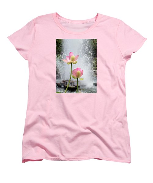 Flowers And Fountains Women's T-Shirt (Standard Cut) by Helen Haw