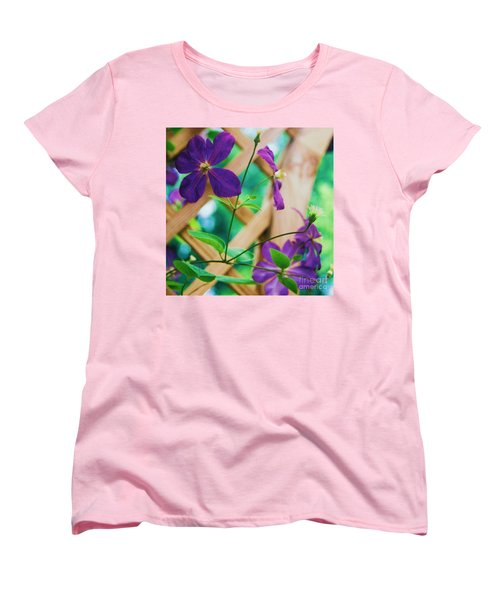 Women's T-Shirt (Standard Cut) featuring the painting Flowers Purple by Eric  Schiabor