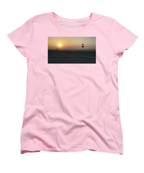 Women's T-Shirt (Standard Cut) featuring the photograph Foggy Hawkeye Sunrise  by Jame Hayes